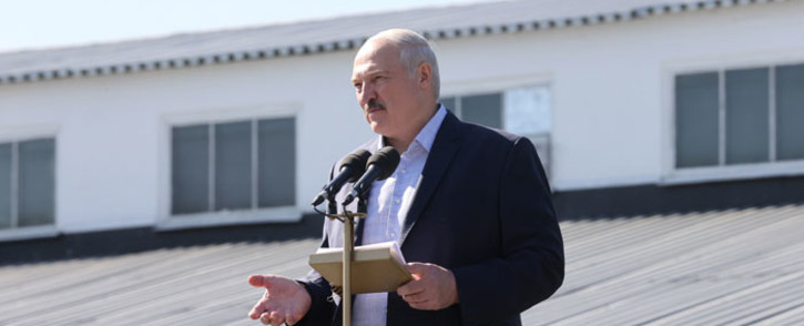 FILE: Belarus' President Alexander Lukashenko addresses employees of the Minsk Wheel Tractor Plant (MZKT), in Minsk, on 17 August 2020. Picture: AFP
