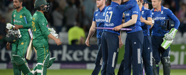 England's players celebrate victory in the third one-day international (ODI) cricket match between England and Pakistan at Trent Bridge cricket ground in Nottingham on August 30, 2016. Picture: AFP