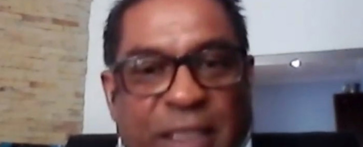 A screengrab of executive secretary of constitutional organisation Casac, Lawson Naidoo, appearing at the state capture inquiry on 18 February 2021. Picture: SABC/YouTube