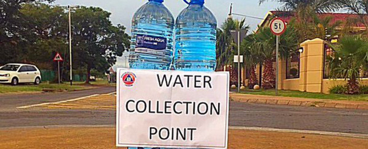 A written sign for water collection in Laudium, Pretoria. Picture: @ProudlySA.