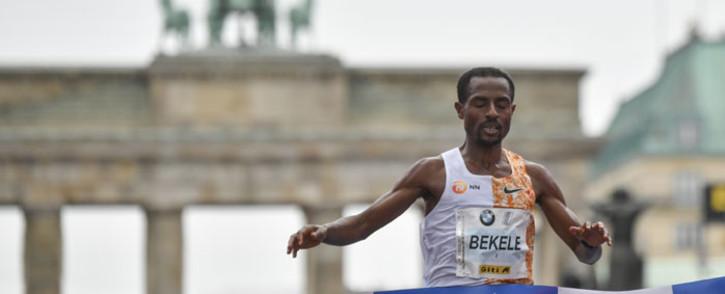 Ethiopia's Kenenisa Bekele crosses the finish line to win the Berlin Marathon on 29 September 2019 in Berlin. Picture: AFP