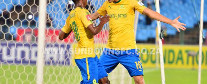 Mamelodi Sundowns players celebrate a goal. @Masandawana/Twitter