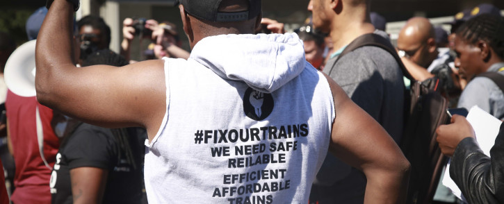 Unite Behind staged a demonstration at the Cape Town Station where President Cyril Ramaphosa was unveiling new train sets. Picture: Cindy Archillies/EWN