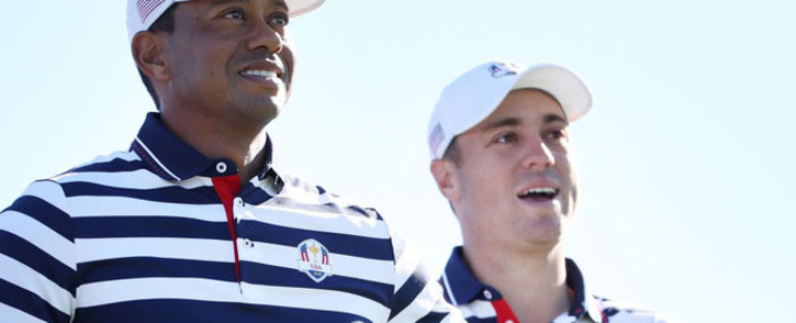 Team USA's Tiger Woods and Brooks Koepka. Picture: @RyderCupUSA/Twitter