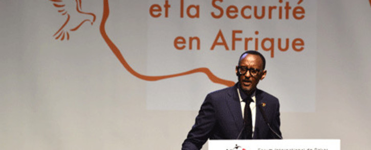 FILE: Rwanda's president Paul Kagame speaks during the opening of the 4th Summit on Peace and Security on 13 November 2017 in Dakar. Picture: AFP.