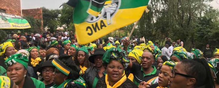 Mourners are seen outside Winnie Madikezela-Mandela's home in Soweto, Johannesburg. Picture: @MYANC/Twitter
