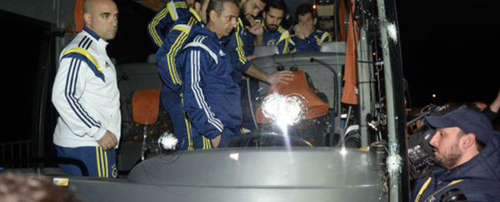 Turkish football team Fenerbahce's team bus was attacked on a bridge with multiple shots fired at the driver. Picture: Twitter @fenerint.