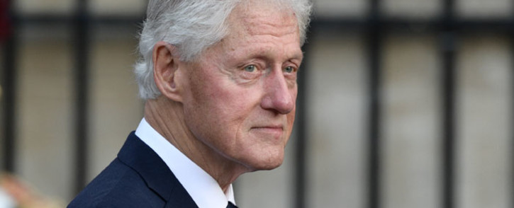 In this file photo taken on 30 September, 2019 former US President Bill Clinton arrives to attend a church service for former French President Jacques Chirac at the Saint-Sulpice church in Paris. Picture: AFP