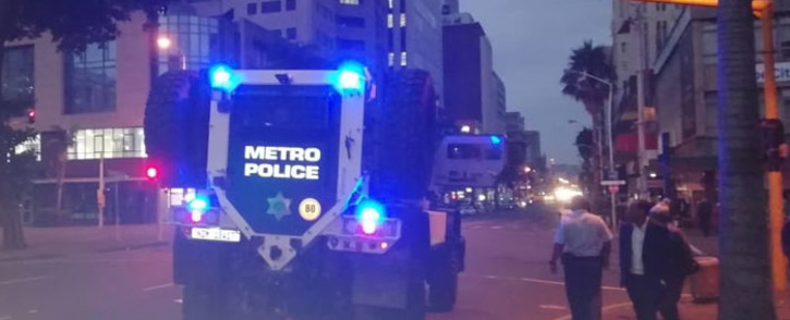 A metro police armoured vehicle is deployed to Durban's city hall ahead of the start of special voting on 6 May 2019. Picture: Nthakoana Ngatane/EWN