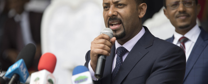FILE: Ethiopia's Prime Minister Abiy Ahmed delivers a speech during a rally in Ambo, about 120km west of Addis Ababa, Ethiopia, on 11 April 2018. Picture: AFP.