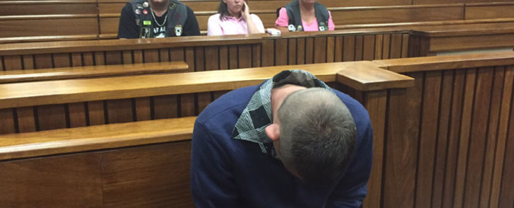 Sarel Du Toit, who pleaded guilty to killing four-year-old Jasmin Pretorius, in the dock in the High Court in Pretoria on 10 November 2015. Picture: Vumani Mkhize/EWN.