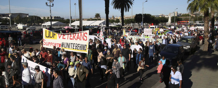 Hundreds of people gathered on the streets of Cape Town in a march to put pressure on MPs to oust President Jacob Zuma. Picture: Bertram Malgas/EWN