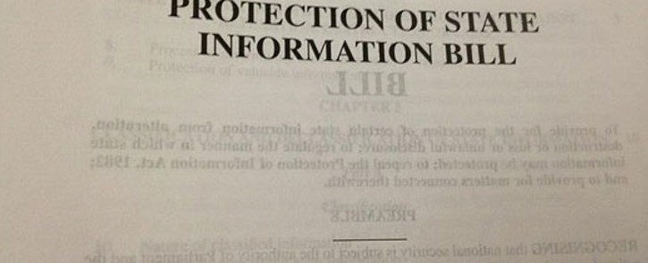 The Protection of State Information Bill. Picture: Regan Thaw/EWN