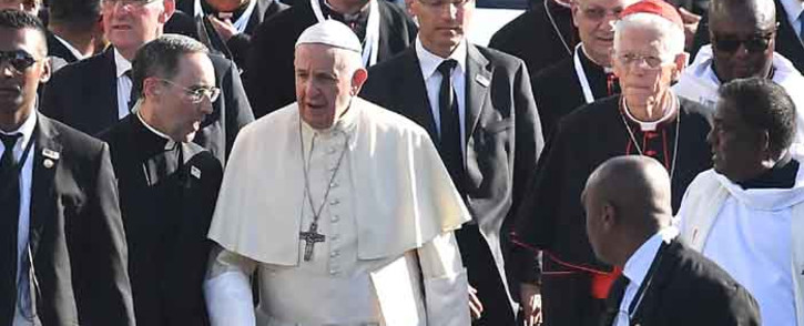 FILE: Pope Francis leaves after visiting the mausoleum of Jacques-Desire Laval in Port Louis, Mauritius, on 9 September 2019, on the final stop of an Africa tour. Picture: AFP.