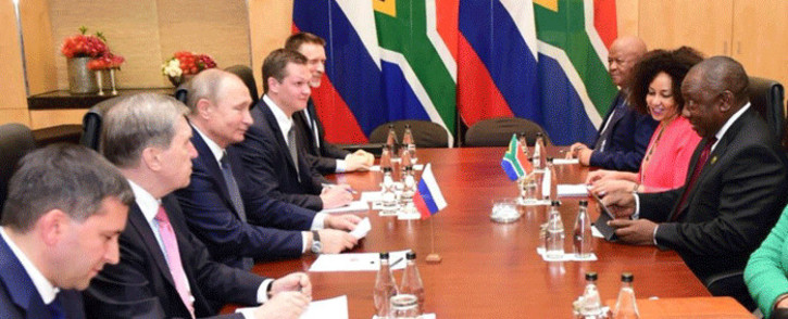 President Cyril Ramaphosa is meeting with his Russian counterpart Vladimir Putin for their first bilateral meeting since he took office on the sidelines of the BRICS Summit. Picture: Qaanitah Hunter/EWN.