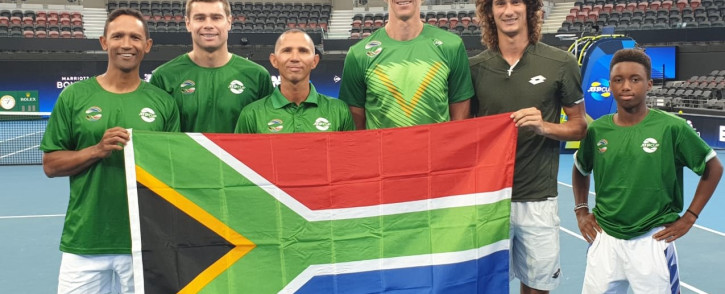 The cream of South African tennis, Raven Klaasen, Ruan Roelofse, Jeff Coetzee (captain), Kevin Anderson, Lloyd Harris and Kholo Montsi. Picture: Tennis South Africa