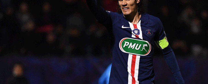 Paris Saint-Germain's Uruguayan forward Edinson Cavani celebrates after scoring a goal during the French Cup football match between Linas-Montlhery and Paris Saint-Germain on January 5, 2020 at the Stade Bobin in Bondoufle, south of Paris. Picture: AFP.