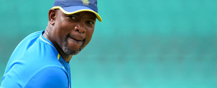 FILE: South Africa's Enoch Nkwe looks on during a practice session at the Himachal Pradesh Cricket Association stadium ahead of their first T20I cricket match against India in Dharamshala on 13 September 2019. Sajjad Hussain/AFP
