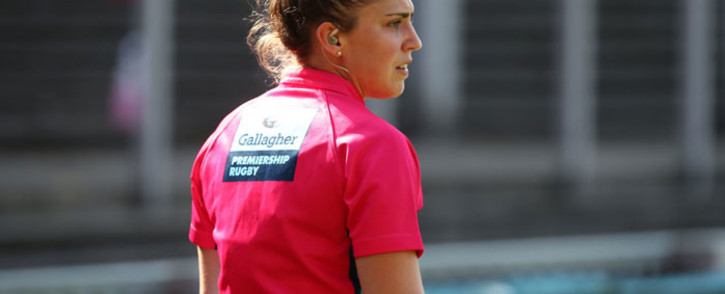 Professional rugby referee Sara Cox. Picture: @premrugby/Twitter