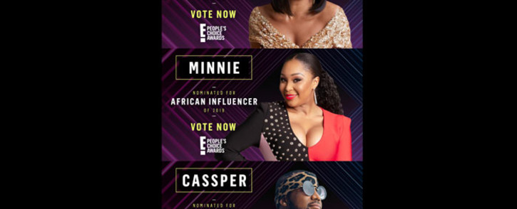 Bonang Matheba, Minnie Dlamini Jones and Cassper Nyovest were nominated for the 2019 African Influencer category at the E! People's Choice Awards in California. Picture: EWN.