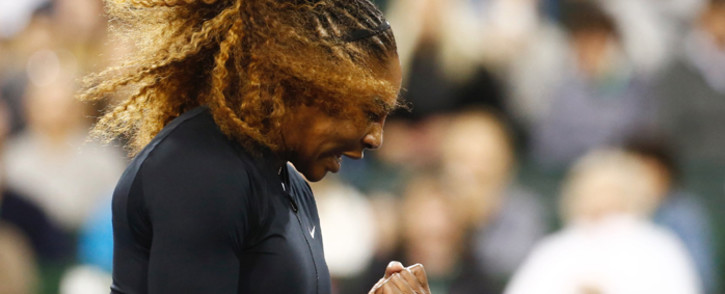 Serena Williams reacts after winning a point as she defeated Victoria Azarenka during her second round match in the BNP Paribas Open at the Indian Wells Tennis Garden. Picture: @BNPPARIBASOPEN/Twitter.