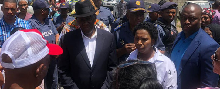 FILE: Police Minister Bheki Cele visits Bokmakierie in Athlone on 15 January 2019 where 6-year-old Brionay Daniels was caught in gang crossfire. Picture: @SAPoliceService/Twitter