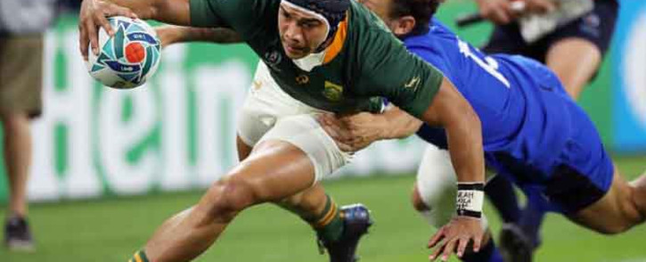 South Africa's Cheslin Kolbe scores a try against Italy during their Rugby World Cup match on 4 October 2019. Picture: Twitter/rugbyworldcup