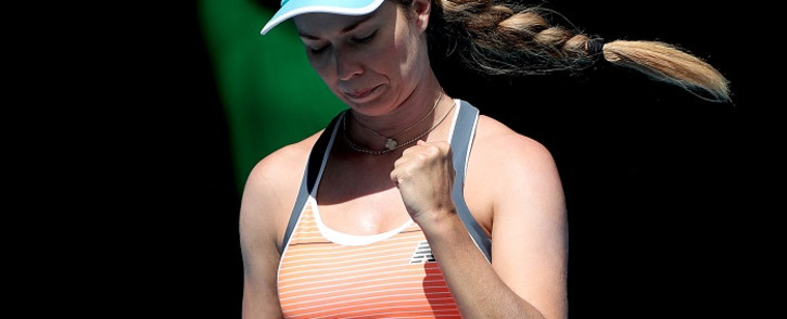 Danielle Collins of the US reacts on a point against Czech Republic's Karolina Pliskova during their women's singles match on day four of the Australian Open tennis tournament in Melbourne on February 11, 2021. Brandon Malone / AFP