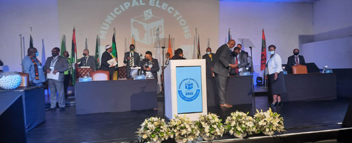 Political party leaders at the IEC following the signing of the electoral code of conduct on 1 October 2021. Picture: @IECSouthAfrica/Twitter