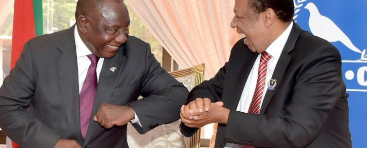 President Cyril Ramaphosa at the St Engenas Zion Christian Church for a courtesy visit with Bishop Dr Engenas Lekganyane. Picture: Twitter/PresidencyZA