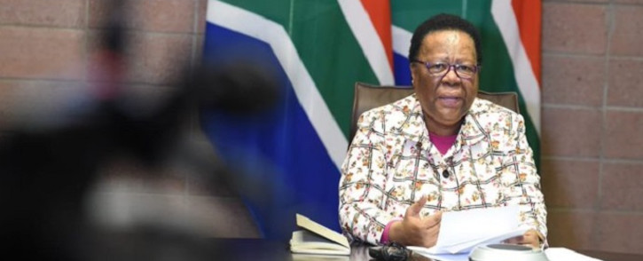 International Relations and Cooperation Minister Naledi Pandor at a press briefing on 21 May 2020 in Pretoria on her department's repatriation process of South Africans stranded abroad due to COVID-19 lockdowns. Picture: @DIRCO_ZA/Twitter.