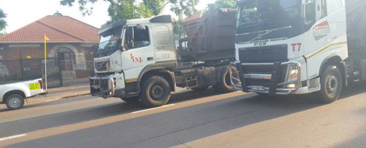 FILE: Truck drivers moving extremely slow on Stanza Bopape to the Pretoria CBD. Picture: @EWNTraffic/Twitter.