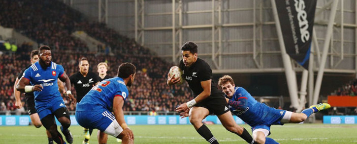 New Zealand's Rieko Ioane on his way to a try against France on 23 June 2018. Picture: @AllBlacks/Twitter