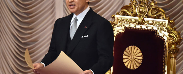 """Japan's Emperor Naruhito delivers a speech at the opening ceremony of an """"Extraordinary Diet"""" session in Tokyo on 1 August 2019. Picture: AFP"""
