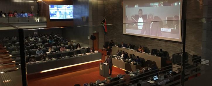 Nkosindiphile Xhakaza, the MMC for finance and economic development in Ekurhuleni, delivers the city's budget on 23 May 2019. Picture: Kgomotso Modise/EWN