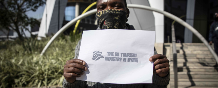 FILE: Members of of the tourism, food and alcohol, and hospitality industries protested in Sandton as part of the #ServeUsPlease movement. Picture: Abigail Javier/EWN