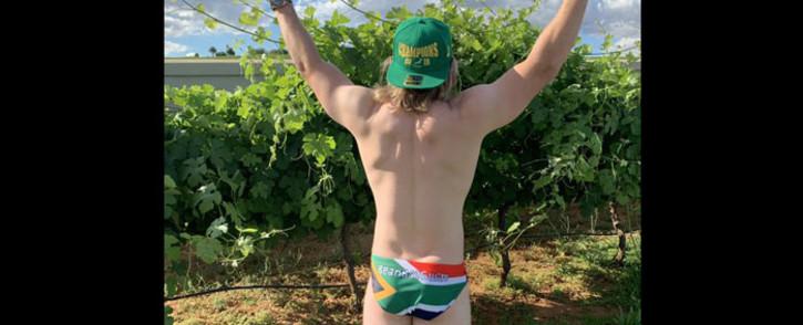 Springbok scrumhalf Faf de Klerk poses in his speedo. Picture: @fafdeklerk/Twitter