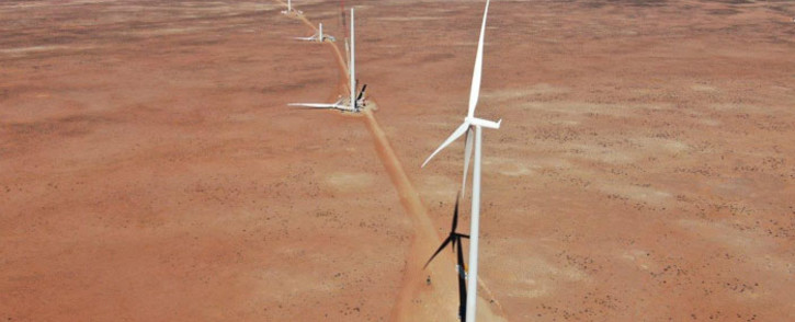 FILE: Wind turbines being installed on the Kangnas wind farm near Springbok in the Northern Cape. Picture: kangnaswind.co.za