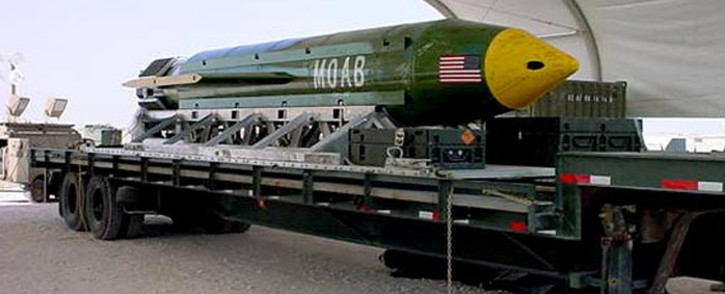 "(FILES) Undated file image courtesy the US Air Force shows the GBU-43/B Massive Ordnance Air Blast (MOAB) bomb sitting in an undisclosed location in theater of the Global War on Terror waiting to be used. The US military on 13 April 2017 dropped what is considered to be the largest non-nuclear bomb on an Islamic State complex in Afghanistan, the Pentagon said. The GBU-43/B Massive Ordnance Air Blast bomb hit a ""tunnel complex"" in Achin district in Nangarhar province, US Forces Afghanistan said in a statement.Handout / US AIR FORCE / AFP"