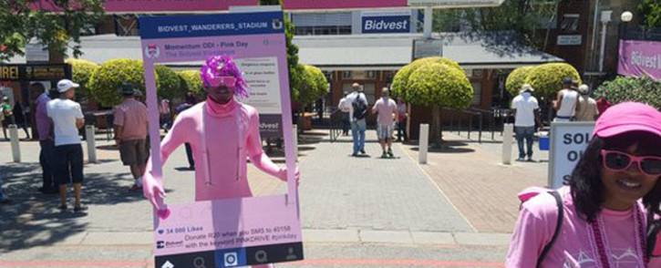 FILE: People dressed in pink shirts, caps and even costumes, making their way to the ground. Picture: Morena Mothupi/EWN