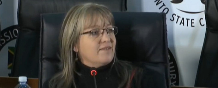 A YouTube screengrab of former Bosasa COO Angelo Agrizzi's personal assistant, Gina Pieters, testifying at the state capture commission of inquiry in Johannesburg on 2 September 2020. Picture: SABC/YouTube