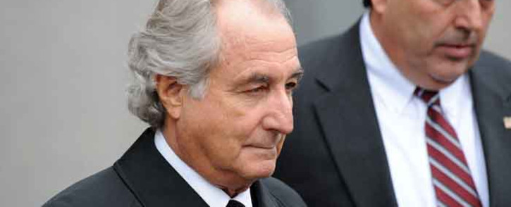 In this file photo disgraced Wall Street financier Bernie Madoff leaves US Federal Court after a hearing on 10 March 2009 in New York. Picture: STAN HONDA/AFP