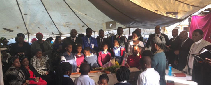Family and friends of gathering during the funeral of four-year-old Uyathandwa Stuurman. Picture: Graig-Lee Smith/EWN.