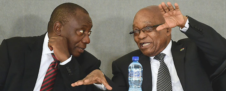 President Zuma and Deputy President Ramaphosa talking at the OR Tambo centenary in Kantolo. Picture: GCIS