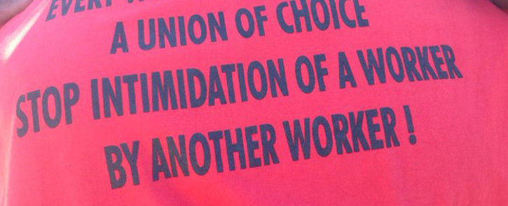 Message on the t-shirt of a mineworker at the first NUM rally to be held in Marikana since 2012 on Sunday, 17 November 2019. Picture: NUM/Twitter