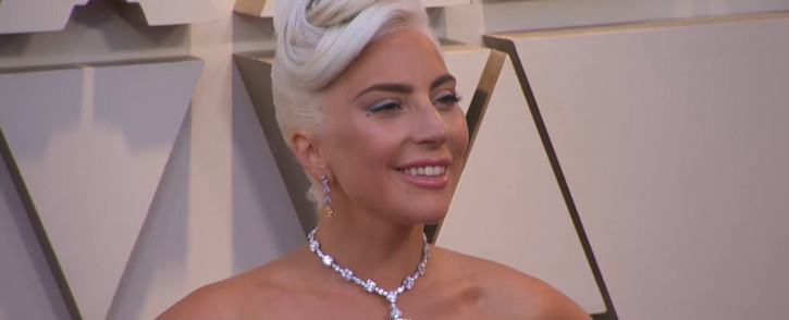 A screengrab of Lady Gaga on the red carpet at the 2019 Academy Awards ceremony.