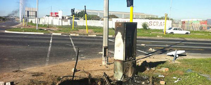 Phillipi protesters damaged traffic lights and fire hydrant on 20 July 2012. Picture: Rafiq Wagiet/EWN