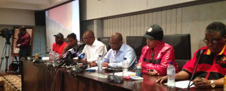 Cosatu leadership at a press conference at Cosatu House in Johannesburg on 11 November 2014. Picture: Reinart Toerein/EWN.