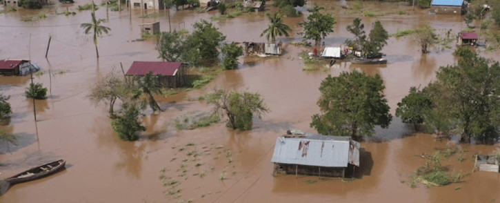 This video grab made from hand out aerial video footage taken by UNICEF on January 24, 2021 shows widespread flooding in the Buzi area of Mozambique after the landfall of Cyclone Eloise. Tropical Cyclone Eloise made landfall on January 23, with wind speeds of 160 kilometres per hour. Picture: AFP /UNICEF/Bruno Pedro.