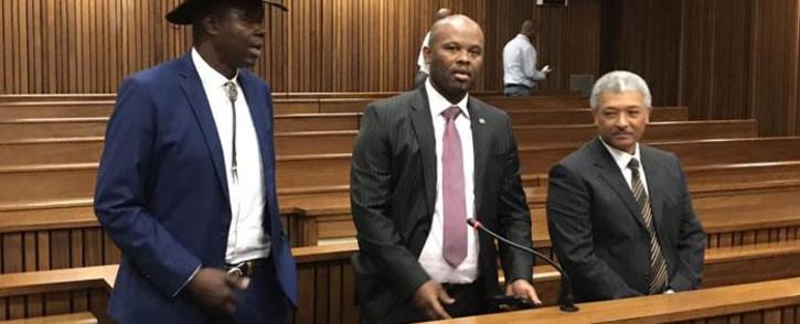 Former Hawks officials Leslie Maluleke, Shadrack Sibiya and Anwa Dramat appear in the Pretoria High Court on 8 October 2018. Picture: Barry Bateman/EWN